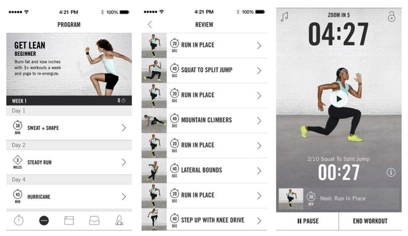 Screenshots of Nike+ Training Club app user interface, showing: (A) The... | Download Scientific Diagram